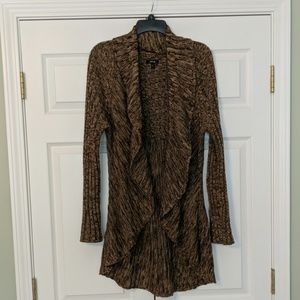 Brown variegated sweater, open front, size medium